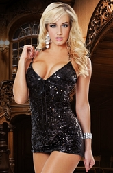 Working Late Black Sequin Mini Dress
