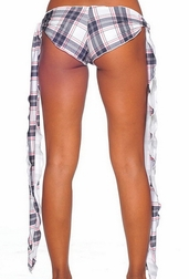 Plaid Print Ribbon Tie Shorts