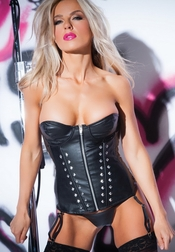 At Your Service Faux Leather Studded Corset