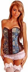 Brocade Leather Strapless Corset