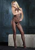 Peek-A-Boo Halter Fishnet Bodystocking