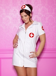Plus Size Patent Nurse Costume