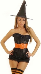 5 PC. Plus Size Fire And Flame Witch Costume