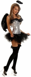 Plus size Silver Dark Angel sequin costume