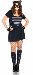Plus Size 4 PC. Risky Raccoon Costume