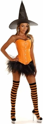 Plus Size Sexy Orange Pin-Up Witch Costume