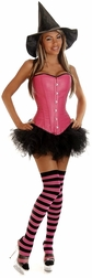 Plus Size Sexy Pink Pin-Up Witch Costume