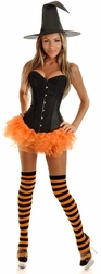 Plus Size 4 PC Glitter Pin-Up Witch Costume