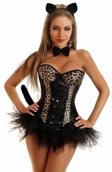 Plus Size 5 PC Sexy Sparkle Leopard Costume