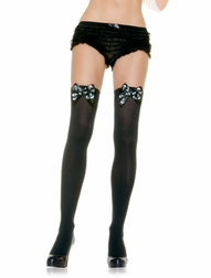 Skull Print Bow Thigh Highs Stocking
