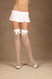 Satin Bow Fishnet Thigh Highs