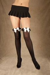 Nylon Thigh High With Ruffle and Bow