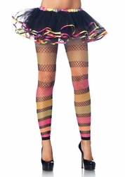 Rainbow Striped Fishnet Footless Stockings