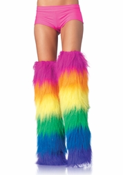 Furry Neon Rainbow Thigh Highs