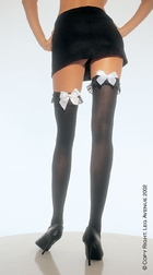 Over Knee With chiffon ruffle And Satin Bow Stocking