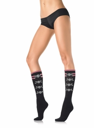 Acrylic Strip Top knee hi Socks with skulls on the side