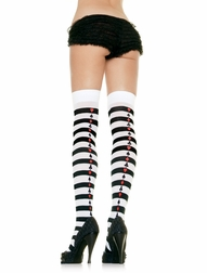 Poker Suit Striped Stockings