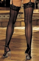 Cuban Heel Stretch Knit Stockings