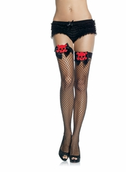 Skull Applique Thigh Highs