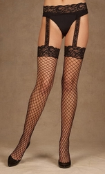 Diamond Net Thigh High With Lace Top