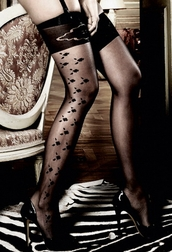 Black Jacquard Patterned Thigh High