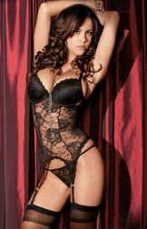 Dark Beauty Lace Bustier w/hose