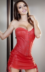 Rushing Into Trouble Red Faux Leather Corset