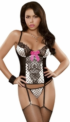 Vintage Dots Collection - Corset & G-String Set