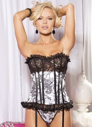 Velvet Flocked Satin and Lace Corset