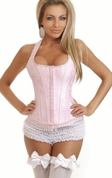 Pink Brocade Full-Back Corset
