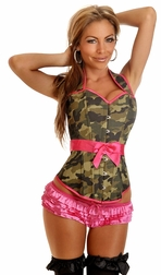 Camo Burlesque Pin-up Babe Corset