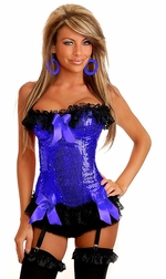 Blue Sequin Burlesque Underwire Corset