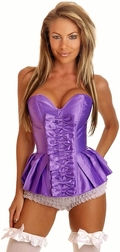 Purple Strapless Pleated Burlesque Skirted Corset