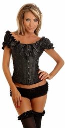 Sexy Black Embroidered Peasant Top Corset