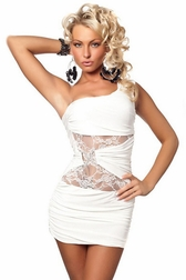 Inertia Creeps Sexy White One Shoulder Mini Dress
