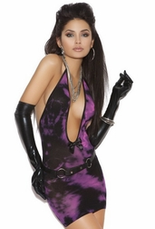 Purple Sky Deep V Mini Dress