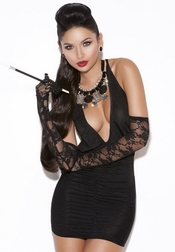 Midnight Express Deep V Mini Dress