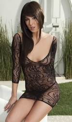 High Heel Honey Stretch Lace Thong Sleeve Mini Dress with Criss Cross Back