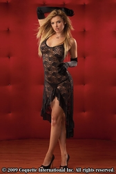 2 PC. Stretch Lace Gown With High Side Slit
