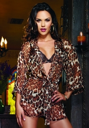 Exotic Affair Kimono Robe With Bra And Panty Set