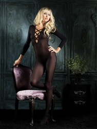 Sheer long sleeved criss-cross front bodystocking with opencrotch