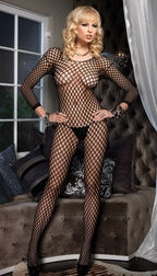 SEAMLESS LYCRA RINGO HOLE LONG SLEEVES BODYSTOCKING OPEN CROTCH