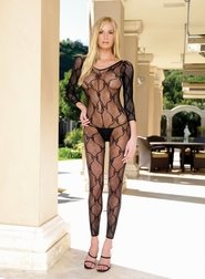 BOW LACE FOOTLESS BODYSTOCKING WITH CRISS CROSS BACK OPEN CROTCH
