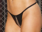 Leather Peek a Boo G-String w/Chain