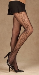 Net Pantyhose With Side Floral Design