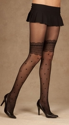 Sheer Pantyhose With Heart Design