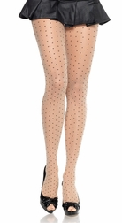 Sheer Pantyhose With Woven Dots