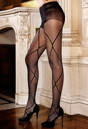 Criss Cross Pattern Control Top Pantyhose