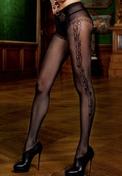 Filigree Pattern Black Pantyhose