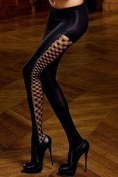 Opaque Diamond Net Side Pantyhose